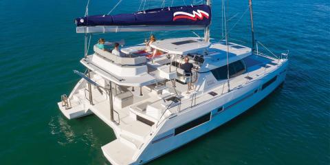 Moorings 4500L people on deck