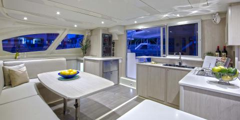 Moorings 4400 Salon at night