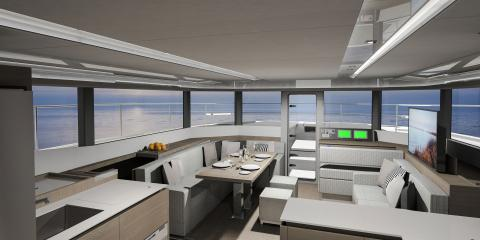 Communal area of Moorings 534pc catamaran overlooking sea
