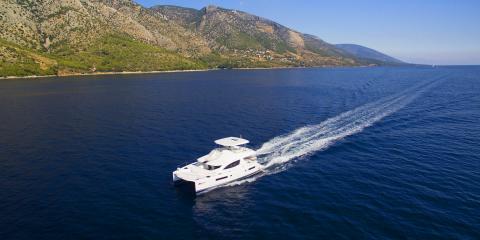 Moorings power catamaran underway