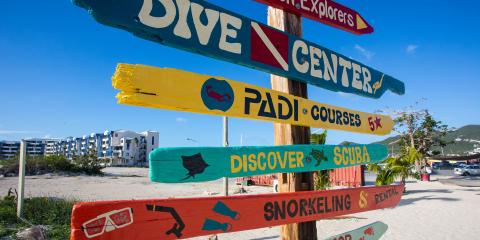 Diving and Snorkeling Rental Sign on Beach
