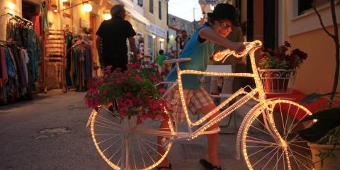 Boy with light-up bicycle
