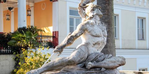 Statue of Achilles Heel at Achillion Palace