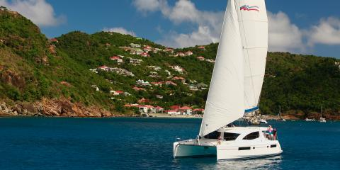 sailing catamaran underway in St. Martin