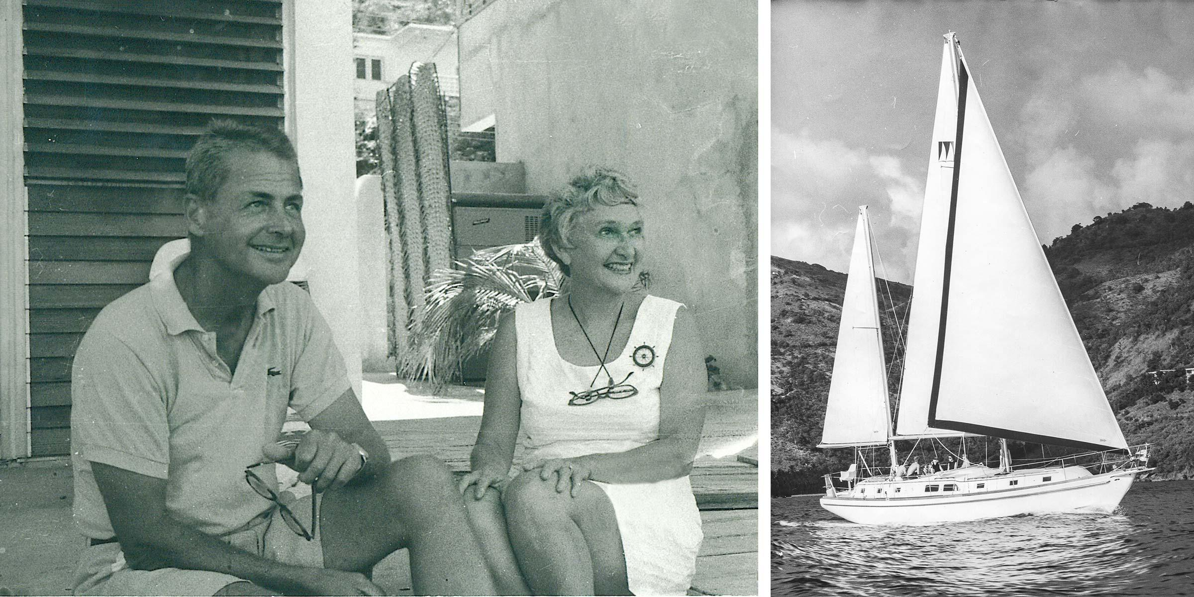 Charlie and Ginnie Cary and a Moorings sailing yacht back in the days