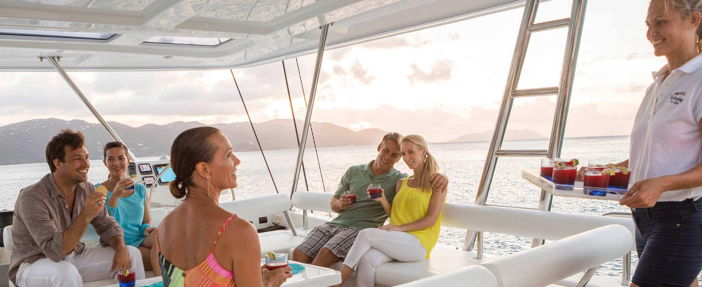 crew serving drinks on yacht
