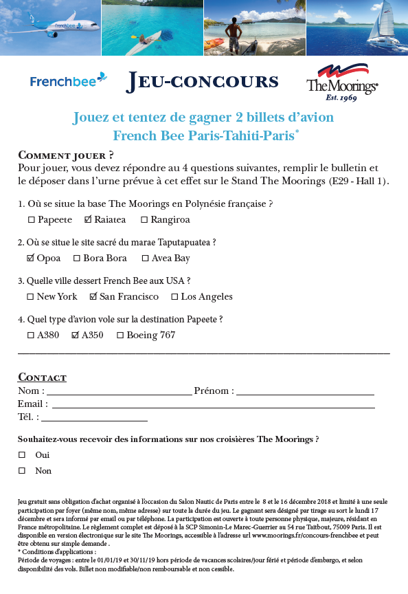Réponses Jeu-Concours The Moorings Frenchbee