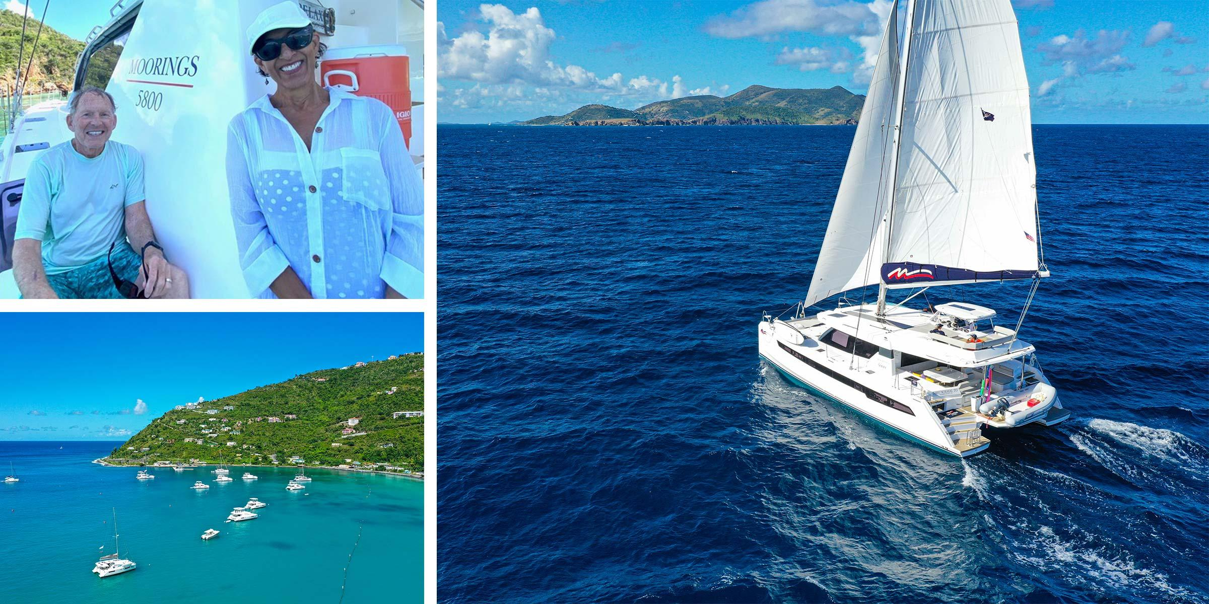 Tony Rainold and wife Yolanda on a Moorings 5800 - Moorings 5000 under sail in the BVI